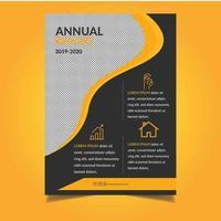 orangefarbene Geschäftsberichtvorlage mit gewelltem Ausschnitt