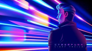 Cyberpunk-Mann, der einen Moment in Lichtgeschwindigkeit hat