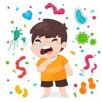 tecknad av sjuk pojke omgiven av bakterier vektor