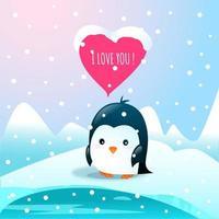 kyla loveick pingvin med jag älskar dig hjärta vektor