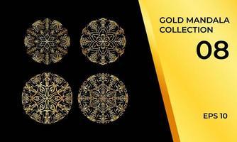 Mandalas in Gold oder Gelb gesetzt vektor