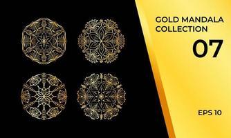 detaljerat gyllene mandala-paket med 4