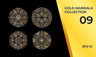 samling av abstrakta tribal mandalas i guld