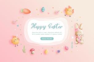 fröhlicher Ostergruß mit Osterelementen vektor