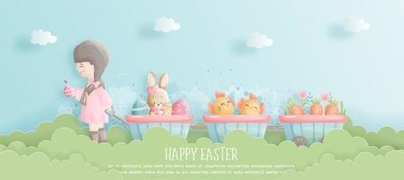 glückliche Osterkarte mit Mädchen, das Wagen im Garten zieht