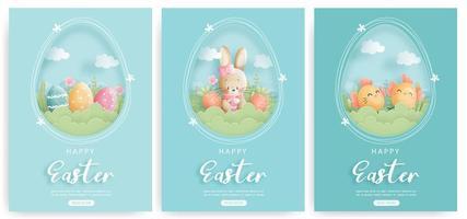 glückliches Osterkartenset mit Hasen- und Ostereiern vektor