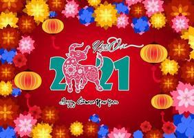 gott kinesiskt nyår 2021 med färgglada blommor