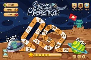spelbakgrundsmall med aliens på månen vektor