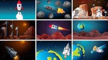Satz von Weltraum- und Planetenhintergründen. vektor