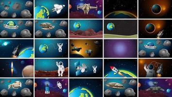 stora uppsättning solsystem scener vektor