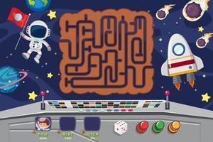 Raum themenorientierte Labyrinth-Puzzle-Spielvorlage vektor