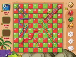 Brettspiel mit Schlangen und Leitern auf roten und grünen Plätzen