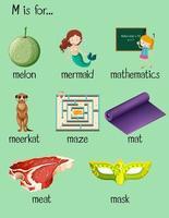 bokstav m ordet affisch. vektor