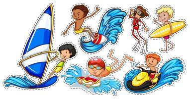 uppsättning människor som gör vattensporter