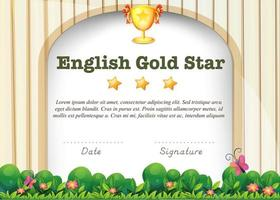 certifieringsmall för engelska ämne vektor