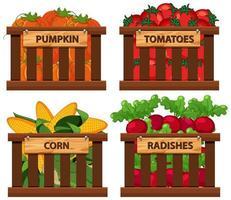 korg full av grönsaker set vektor