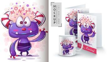 süßes winkendes lila Monster vektor