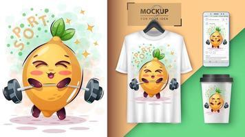 tecknad citron lyft skivstång design