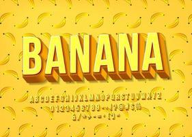 gult bananalfabet. 3D-lager typsnitt.