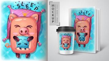 Schwein mit Kissen Schlaf Design vektor