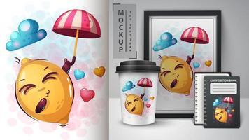 Cartoon Zitrone mit Regenschirm Design