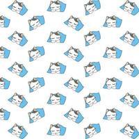 söta sovande tecknad kattmönster vektor