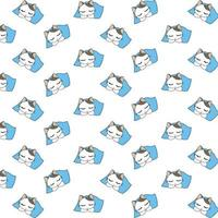 niedliches schlafendes Karikaturkatzenmuster vektor