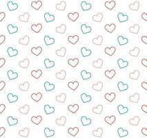 rosa och blå kontur hjärtan bakgrund