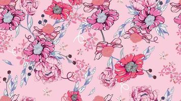 nahtloses Muster von Flora und Pfingstrosen