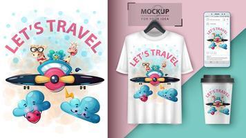 Lassen Sie uns Cartoon Tiere Design reisen