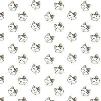 tecknad glad katt ansikten mönster vektor