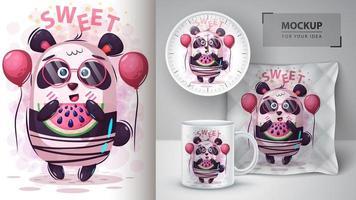söt panda med vattenmelon karaktär
