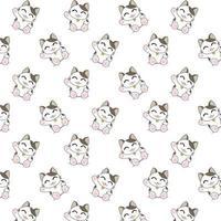 tecknad katt viftande mönster vektor