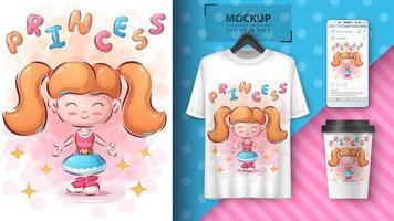 süßes Mädchenplakat und Merchandising