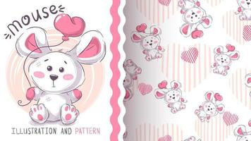 weiße Maus mit Herzballon vektor