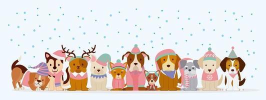 hundar i vinterkläder i snö vektor