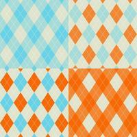 orange och blå sömlös argyle mönsteruppsättning