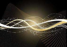 dekorativer Hintergrund mit fließenden goldenen Punkten und Linien vektor
