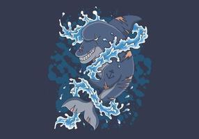 Delphin spritzt Wasser vektor