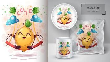 Zitronen-Cartoon auf Schaukelentwurf vektor