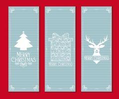 hellblaue frohe Weihnachten Kartensatz vektor