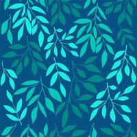 nahtloses Muster mit blauen Blättern.