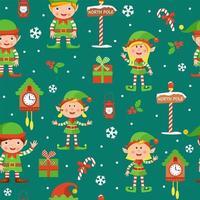 nahtloses Weihnachtsmuster mit Elfen vektor