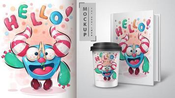 Hallo Monster mit Wäscheklammer auf rotziger Nase vektor