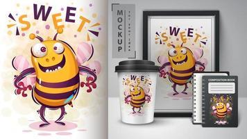 verrückte süße Biene Design vektor