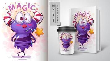 magisches lila Karikaturmonsterdesign vektor