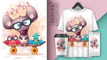 tecknade djurvänner på skateboard