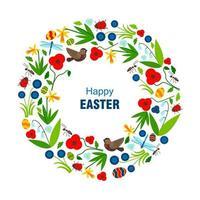 Osterkarte mit Kranz aus Blumen und Vögeln vektor