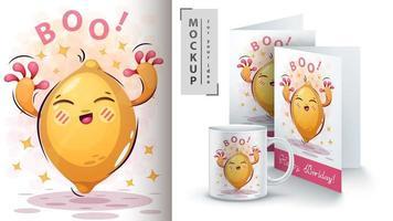 Cartoon Zitrone schreien Boo Design