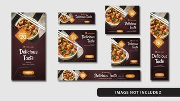 elegant mat sociala medier och webbbaner vektor